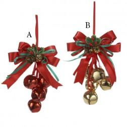 """5.5"""" Metallic Red/Gold Bells With Bow"""
