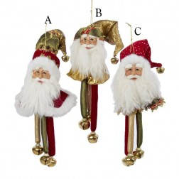 "Image of 13"" Red/Green/Gold Santa Head with Bells"