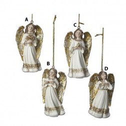 3.5 Inch Ivory and Gold Angel Ornament