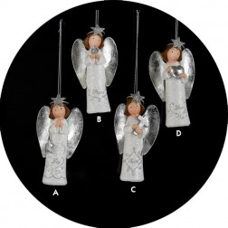 White and Metallic Silver Heavenly Angel Christmas Ornament