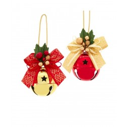 """Image of 6.5""""Red/Gold Bell W/Ribbon Orn 2/A"""