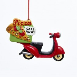3.75 Pizza Delivery Scooter Ornament
