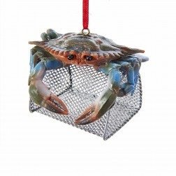 "Image of 3""Resin Blue Crab W/Wire Cage Orn"