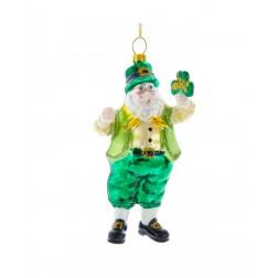 "Image of 5""Glass Irish Santa Orn"