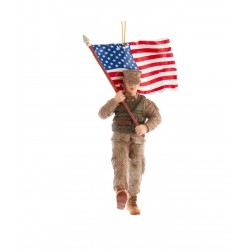"Image of 5.75""Marine Soldier W/American Flag"