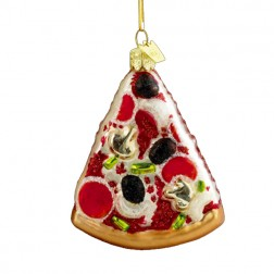 Image of Pizza Slice Shaped Christmas Ornament
