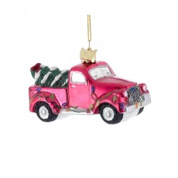 "Image of 4""Glass Truck W/Xmas Tree Orn"