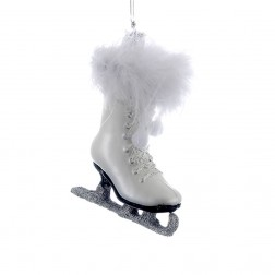 "Image of 4.25"" Noble Gems White Ice Skate Ornament"