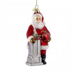 "5.5"" Noble Gems Santa with Empire State Building Ornament"