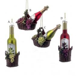 """4"""" Noble Gems Glass Wine Bottle Ornament"""
