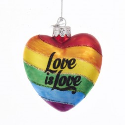 """4"""" Noble Gems Glass """"Love is Love"""" Ornament"""