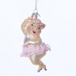"4.75"" Nobel Gems Glass Dancing Pig Ornament"