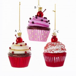 "3.65"" Noble Gems Glass Cupcake Ornament"