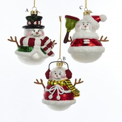 "3.5"" Noble Gems Red/Green Snowman Ornament"