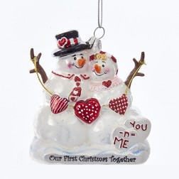 "3.75"" Noble Gems Snowcouple 1st Christmas Ornament"
