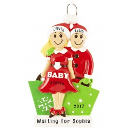 Expecting Couple Blonde Personalized Christmas Ornament