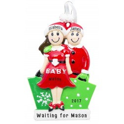 Expecting Couple Brown Personalized Christmas Ornament