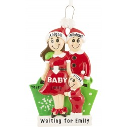 Image of Expecting Family Brown Personalized Christmas Ornament