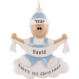 Image of Baby with Ribbon Boy Personalized Christmas Ornament