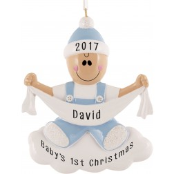 Baby with Ribbon Boy Personalized Christmas Ornament