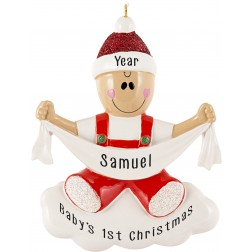 Image for Baby with Ribbon Personalized Christmas Ornament