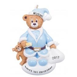 Santa Bear Boy Personalized Christmas Ornament