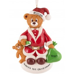 Image for Santa Bear Personalized Christmas Ornament