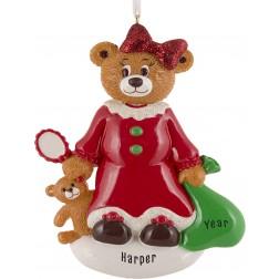 Image of Santa Bear Girl Personalized Christmas Ornament