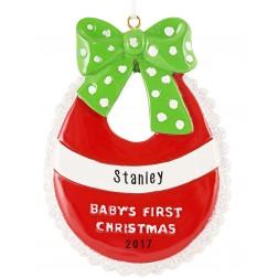 Baby Bib Personalized Christmas Ornament