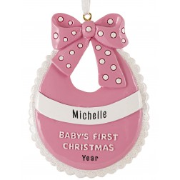 Image for Baby Bib Girl Personalized Christmas Ornament