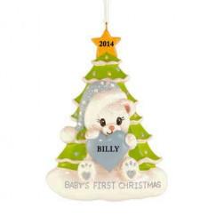 Santa Bear with Tree Boy Personalized Christmas Ornament