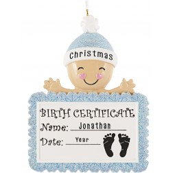 Image for Baby Birth Certificate Boy Personalized Christmas Ornament
