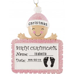 Image for Baby Birth Certificate Girl Personalized Christmas Ornament