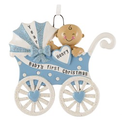 Image for Baby Carriage Boy Personalized Christmas Ornament
