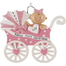 Image for Baby Carriage Girl Personalized Christmas Ornament