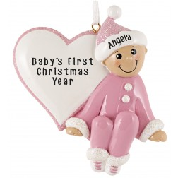 Image for Baby Heart Girl Personalized Christmas Ornament