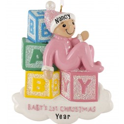 Image for Baby Blocks Girl Personalized Christmas Ornament