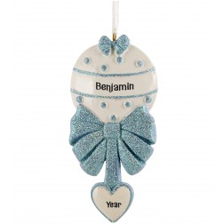 Image of Baby Rattle Boy Personalized Christmas Ornament