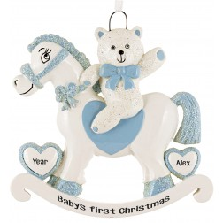 Image of Rocking Horse Boy Personalized Christmas Ornament
