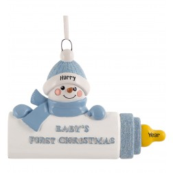 Image of Baby Bottle Boy Personalized Christmas Ornament