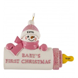 Image for Baby Bottle Girl Personalized Christmas Ornament