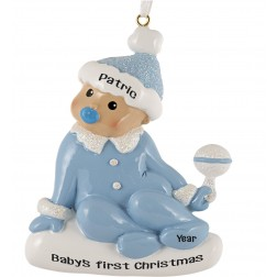 Image of Sitting Baby Boy Personalized Christmas Ornament