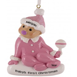 Image for Sitting Baby Girl Personalized Christmas Ornament
