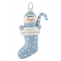 Stocking Baby Boy Personalized Christmas Ornament