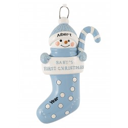 Image of Stocking Baby Boy Personalized Christmas Ornament