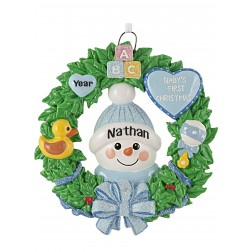 Image of Snow Baby Wreath Boy Personalized Christmas Ornament