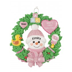 Image for Snow Baby Wreath Girl Personalized Christmas Ornament