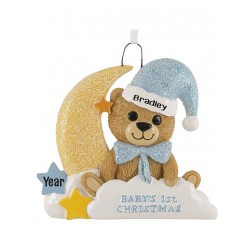 Image of Baby Bear Moon Boy Personalized Christmas Ornament