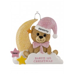 Image for Baby Bear Moon Girl Personalized Christmas Ornament