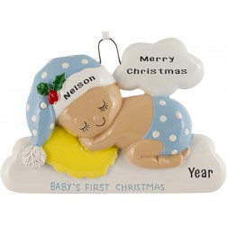 Image of Sleeping On The Cloud Boy Personalized Christmas Ornament